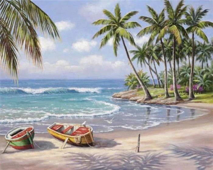 Gaira Malování podle čísel Loďky na pláži M1066A